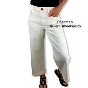 Loft Wide Leg Crop Raw Hem High Waist Jeans 28/6
